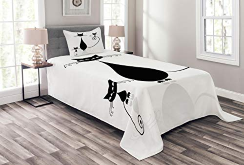 Lunarable Cat Lover Bedspread Set Twin Size, Mom Kids Children Halloween Theme Paw Animals Simplistic Illustration, Decorative Quilted 2 Piece Coverlet Set Pillow Sham, Black White ()