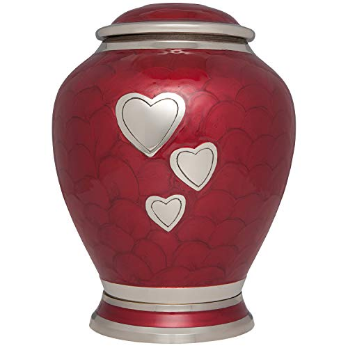 Red Cremation Urn with Three Hearts – Funeral Urns for Human Ashes – Suitable for Cemetery Burial urn with Love Design – 100 Brass – Large Adult Size up to 200 lbs