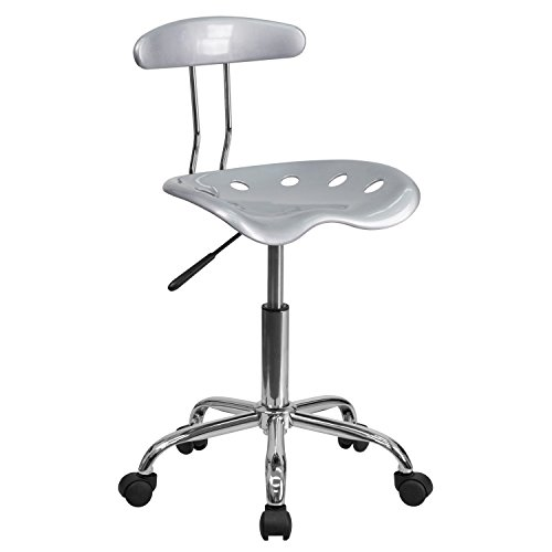 MFO Vibrant Silver and Chrome Computer Task Chair with Tractor Seat