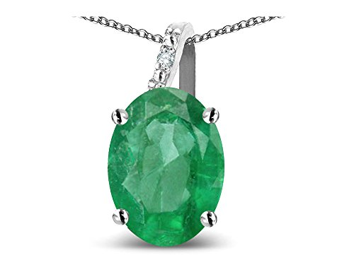 Star K Oval 8x6 Genuine Emerald Journey Pendant Necklace 10 kt White Gold