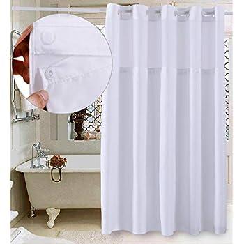 Conbo Mio Hookless Shower Curtain Snap In Liner Bathroom Waterproof Anti Mildew Bacterial Resistant Rust Proof Magnet Premium ABS Flex On Rings White