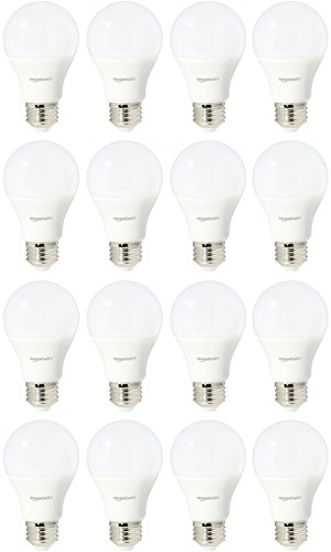 AmazonBasics 60 Watt 15,000 Hours Dimmable 800 Lumens LED Light Bulb - Pack of 16, Daylight