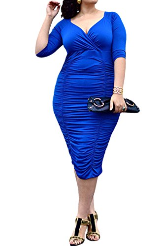 LaSuiveur Women's V-neck Pleated Dresses Plus Size Bodycon Dress XL Blue