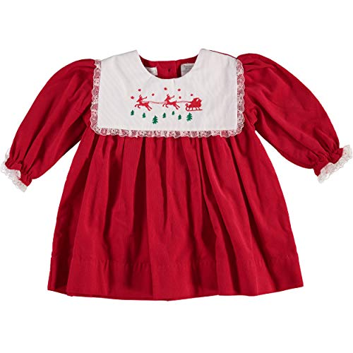 Carriage Boutique Girls Christmas Red Reindeer Long Sleeve Dress