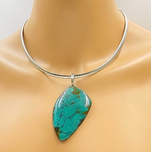 Nevada Turquoise - Nevada Turquoise Slab Pendant Leather Unisex Choker -