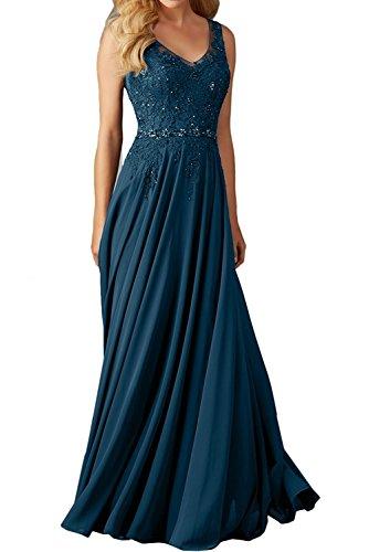 Promkleider A Blau Rock Damen Cocktailkleider Lang linie Tinte Dunkel Abendkleider mia Braut Festlichkleider Spitze Partykleider Gruen La w07Ta0