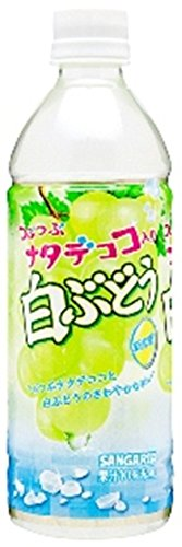 Sangaria pebbly nata de coco containing white grapes 500mlX24 this by SANGARIA