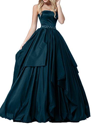 Braut Promkleider Linie Dunkel Blau Rock Partykleider Traegerlos Weiss Abendkleider Ballkleider mia La Prinzess Festlichkleider A Langes 4SA5wAq