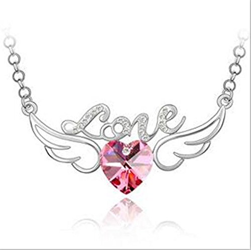 (NEW Womens Heart Love Pink Crystal Rhinestone Silver Chain Pendant Necklace)