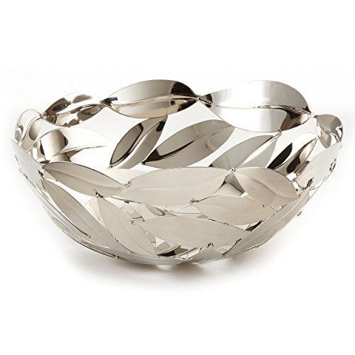 Elegance Nickel Plated Stainless Steel Round Leaves Basket, (Round Silver Plated Bowls)