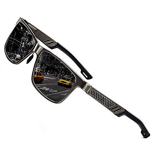 ROCKNIGHT HD Sunglasses for Men Golf UV Sunglasses Polarized Fishing Gun Grey Sunglasses Hiking Trekking Travel Metal Frame Sunglasses