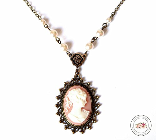 Amazon vintage cameo necklace in pink and white featuring a vintage cameo necklace in pink and white featuring a ladys portrait with white swarovski pearls chain aloadofball Images
