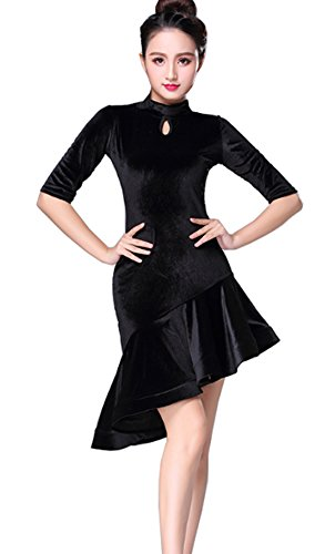 Jupe Valse Jupe De Bal Robe De Velours Robe De Danse Latine Rumba Robe Cha Cha Noir