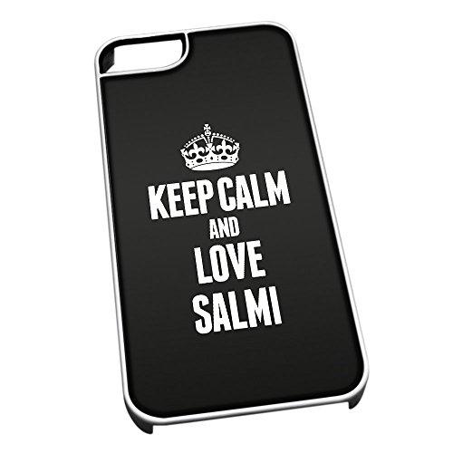 Bianco cover per iPhone 5/5S 1485nero Keep Calm and Love Salmì