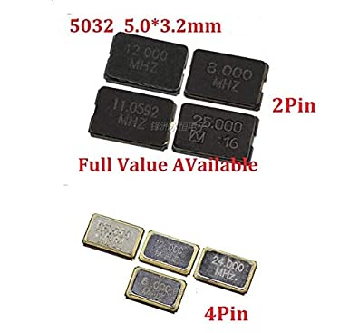 10PCS Passive Crystal Oscillator SMD 5032 2PIN 8MHZ//10MHZ//11.0592MHZ//12MHZ//16MHZ//20MHZ//24MHZ//25//27mhz 4Pin 5.03.2mm 5032 4PIN 10M