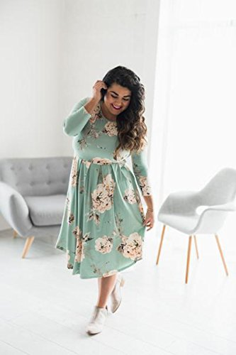 Sleeve Dress Women Waist 4 Midi Pockets Floral Pleated Green Loose YIBU Apparel with Dress Empire 3 Casual 5qwIIA