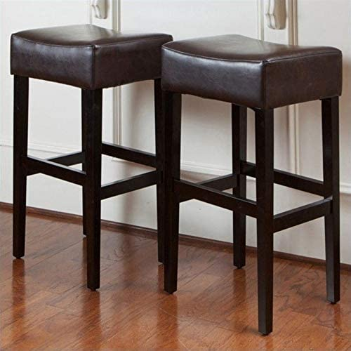 Noble House 30 Rodriguez Backless Bar Stools in Brown Set of 2