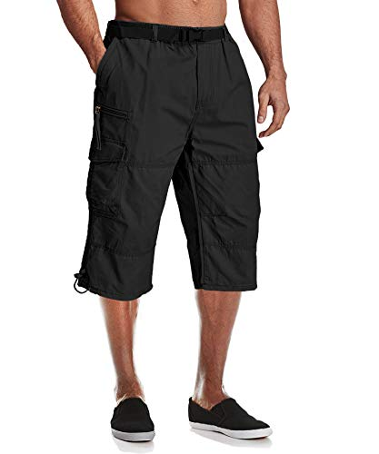 MAGCOMSEN Long Shorts for Men Below Knee Shorts Cargo Shorts Relaxed Fit Multi-Pocket Urban Long Capri Shorts 3/4 Pants Baggy Shorts Black ()