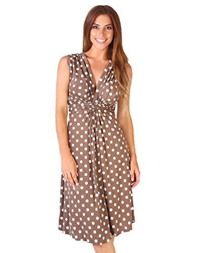 KRISP 6147-MOCWHT-20 Knot Front Dress, Mocha/White,[16] ()