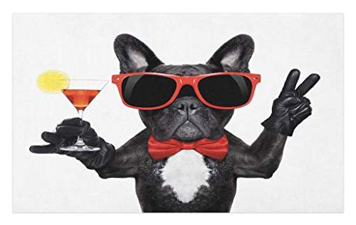 Lunarable Funny Doormat, French Bulldog Holding Martini Cocktail Ready for The Party Nightlife Joy Print, Decorative Polyester Floor Mat with Non-Skid Backing, 30