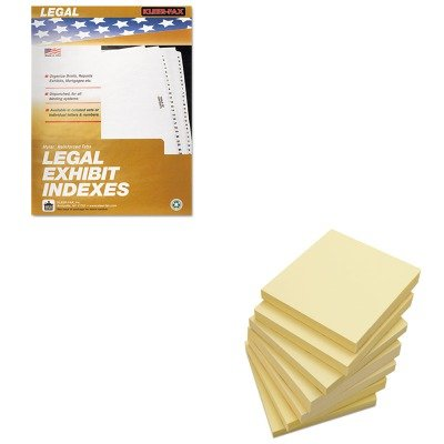 KITKLF81006UNV35668 - Value Kit - KLEER-FAX 80000 Series Legal Index Dividers (KLF81006) and Universal Standard Self-Stick Notes (UNV35668)