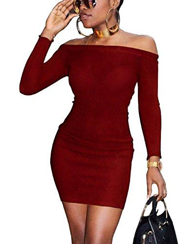 Spalline Senza Bodeaux Vestiti Elegante Tinta Avvolgere Lunghe Penggeng Maniche Cocktail Unita Donna Abito MVqLzjUGSp