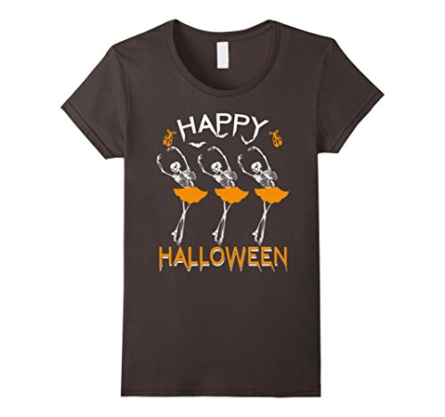 Womens Happy Halloween Ballet Dancing Skeleton Ballerina T-Shirt Medium Asphalt