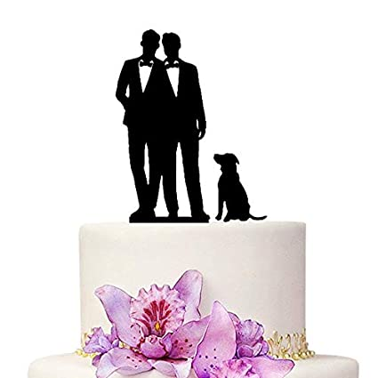 Cake Topper Mr /& Mr Black Stylish Silhouettes Gay Weddings Engagement Party Cake