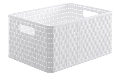Rotho 1115301100 Aufbewahrungskiste Dekobox Country in Rattan-Optik aus Kunststoff (PP), Format A4, Inhalt ca. 18 l, ca. 36.8 x 27.8 x 19.1 cm (LxBxH), Weiß