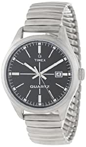 Timex Unisex T2N399AB Originals 1970s Inspiration Black Dial Stainless Steel Expansion Band Watch