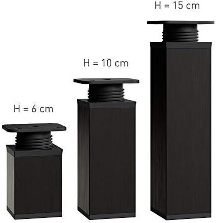 Vierkant-Profil: 40 x 40 mm Design-M/öbelf/ü/ße Doppelpack h/öhenverstellbar H/öhe: 60mm | Material: Aluminium Farbe: Schwarz +20mm Sossai/® MFV1-BL060-8 2 x 4er Set 8 St/ück