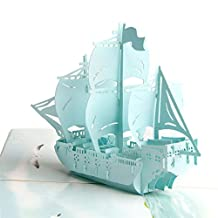 Paper Spiritz Premium Sailboat 3D Pop up Card Color Printing Laser Cut Mother's Day Greeting Card Friendship Love Thank You for Birthday Easter Anniversary Wedding Kids with Envelope