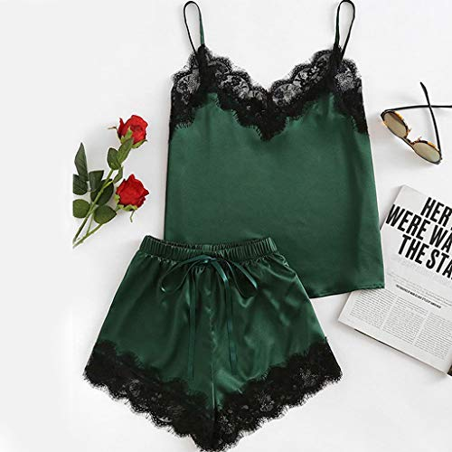 Roselv New Women Elegant Nightdress V-Neck Lace Satin Sleepwear Feminine Black Pajamas Set Sexy Camisole Shorts 2 PCS Green L