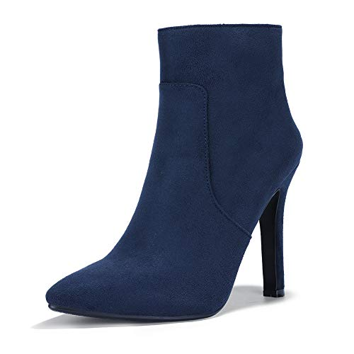 IDIFU Women's Vivian Classic Pointed Toe Ankle Booties High Stiletto Heels Side Zipper Short Boots (7 M US, Blue Suede) ()