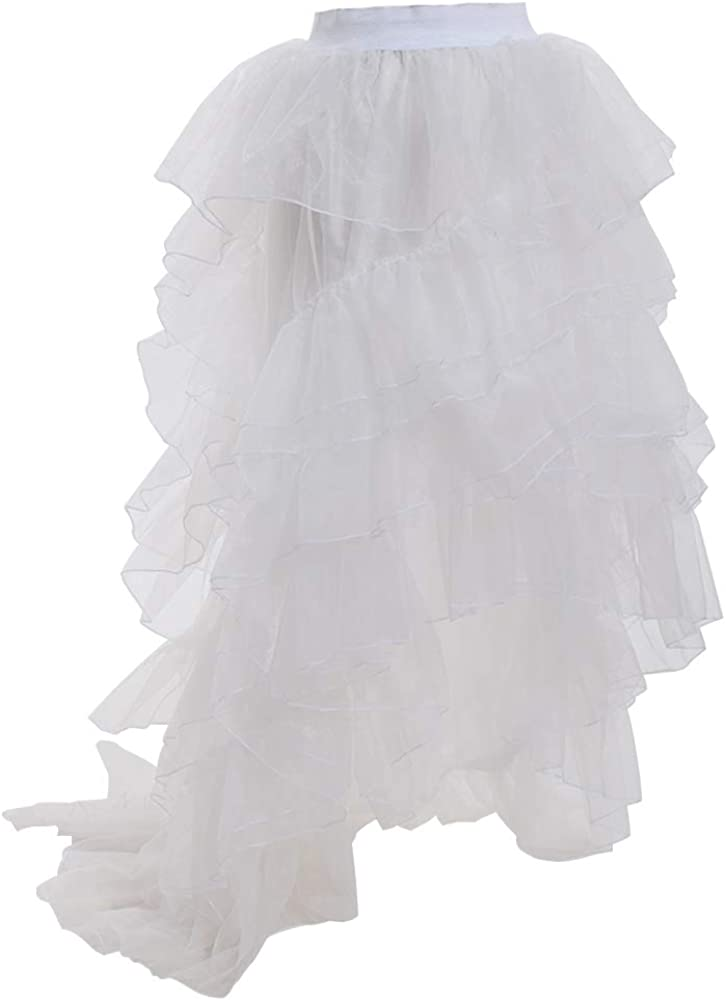 BPURB Women High Low Tutu Skirts Layered Dovetail Skirts High Waist Tulle Skirt Princess Prom Wedding Skirt