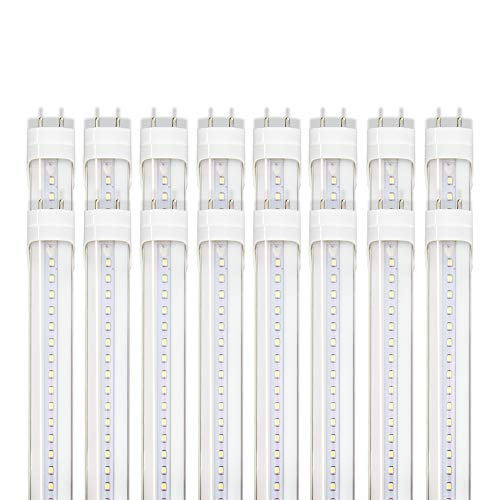 Barrina T8 T10 T12 LED Light Tube, 4FT, 22W, 6000K (Super Bright White), 2600 Lumens, Dual-End Powered, Clear Cover, T8 T10 T12 Fluorescent Light Bulbs Replacement, 16-Pack