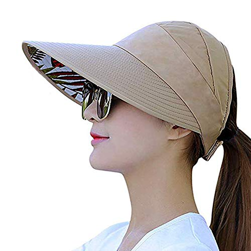 Sun Visor Hats for Women Large Wide Brim Foldable Summer Beach Hat UV Protection Caps (B-Khaki-1)