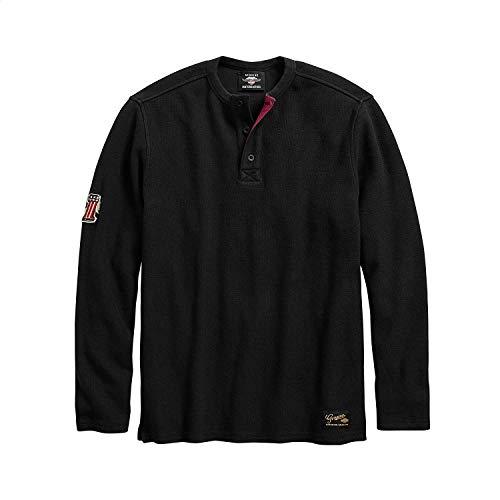 Genuine Mens Shirt - Harley-Davidson Official Men's #1 Genuine Classics Henley, Black (Large)
