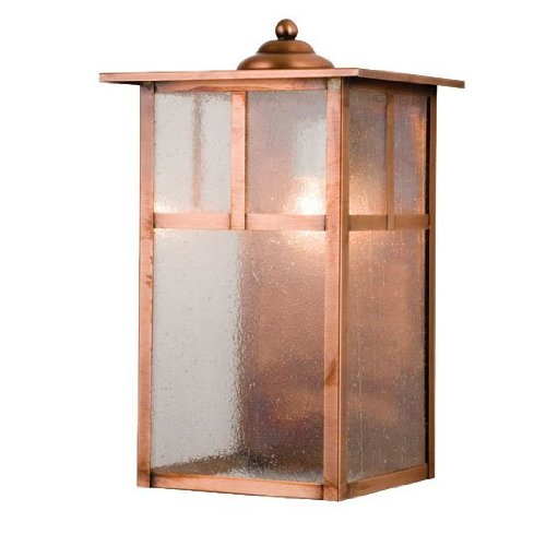 Meyda Tiffany Custom Lighting 26934 Donnybrook Mission 1-Light Exterior Wall Lantern, Antique Copper Finish with Clear Seedy Glass