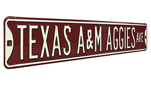 """Authentic Street Signs 70028 Texas A&M Aggies Ave, Heavy Duty, Metal Street Sign Wall Decor, 36"""" x 6"""""""