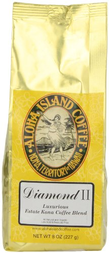 Aloha Island Coffee Company Diamond II, Luxurious Estate Kona Coffee Blend, 8-Ounce Box
