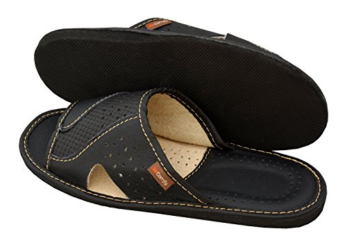 BeComfy Genuine Mens Brown Black Leather Slippers Slip-On Shoes XC64 Schwarz