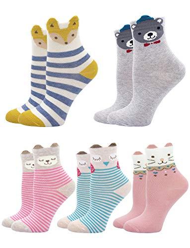 Kids Socks Cotton Striped Stereo Animal Ear Cute Baby Toddler CrewSocks for Boy or Girl 5 pair (Animal Ear Socks 5 Pairs, US kids shoe size 5-6) -