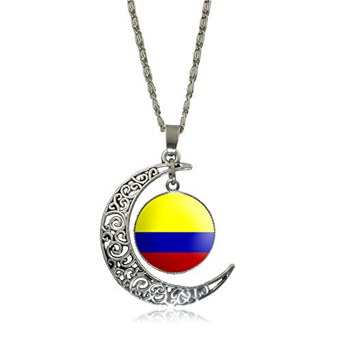 Women Creative National Flag Hollow Moon ChainTime Gem Pendant Necklace Jewelry U.S. (B)
