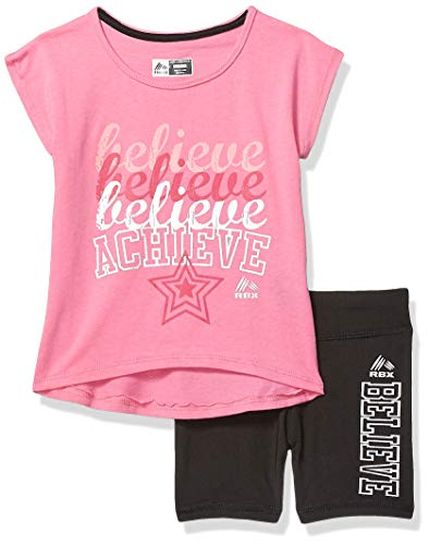 - RBX Girls' Big 3 Piece Active Short Set, Pink Cherry, 10/12
