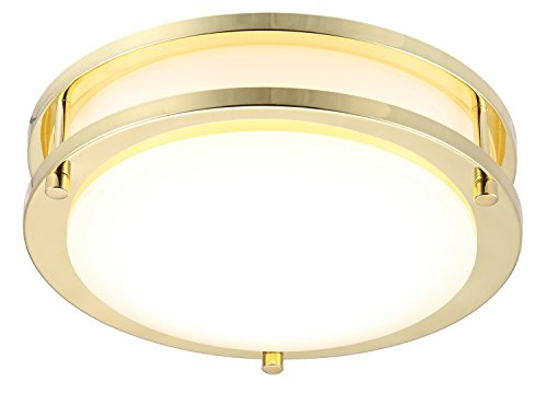 "Cloudy Bay LED Flush Mount Ceiling Light,10 inch,17W(120W Equivalent) Dimmable 1150lm,4000K Cool White,Polished Brass Round Lighting Fixture for Kitchen,Hallway,Bathroom,Stairwell - Dimmable to 10%, compatible with most standard dimmers.Works perfectly with Cloudy Bay dimmer ""CBLD001WH"". The LED ceiling lights have a CRI90+ rating, this allows the light to render more closely to the object's true and original color, thus producing a more accurate and vivid lighting than other lighting alternatives. Wide Application - Our LED Ceiling Lights are perfect for kitchens, closets, stairwells, basements, bathrooms, washrooms, etc. - bathroom-lights, bathroom-fixtures-hardware, bathroom - 41EA1vCrIAL -"
