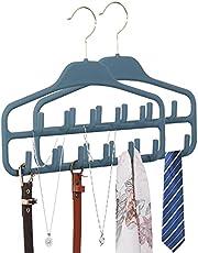 CQQDOQ 2 Pack Belt Rack Hanger for Men & Women,360 Degree Rotating Tie Hanger Organizer with 11 Sturdy Hooks,Non Slip Hanging Closet Holder for Belt,Bow Tie,Scarf and Hat