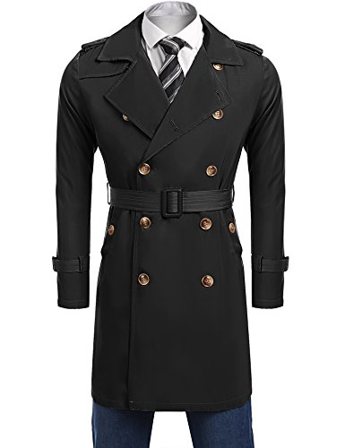 Coofandy Men's Long Trench Coat Double Breasted Buttons Jacket Overcoat With Belt,Black,X-Large