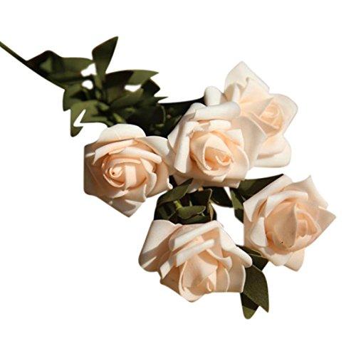 GoodLock Artificial PE Fake Flowers Rose Floral Wedding Bouquet Bridal Hydrangea Decor (Beige)