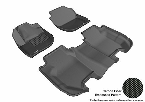 Smoothers Gift Set - 3D MAXpider Complete Set Custom Fit All-Weather Floor Mat for Select Honda Fit Models - Kagu Rubber (Black)